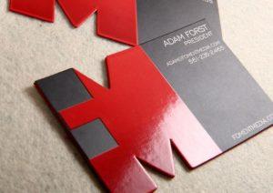 Die cut business card finish